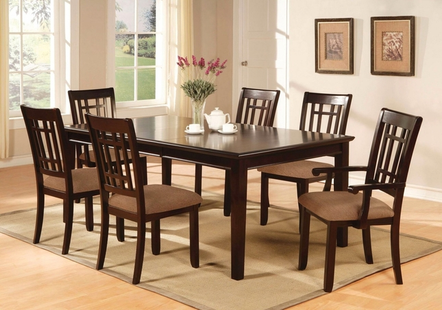 Central Park I Transitional Dark Cherry Formal Dining Set with