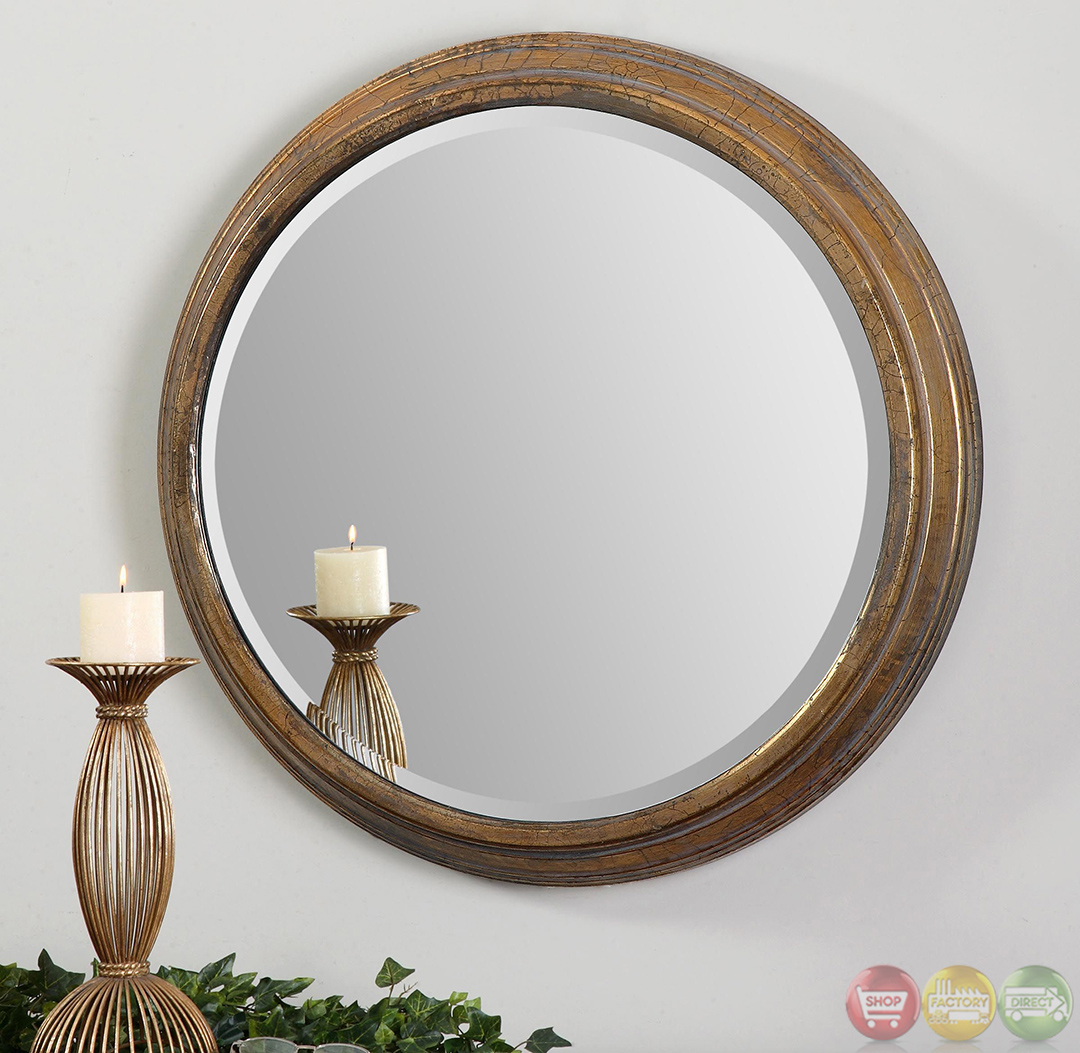Cerchio traditional antiqued gold mirror 12864 for Traditional mirror