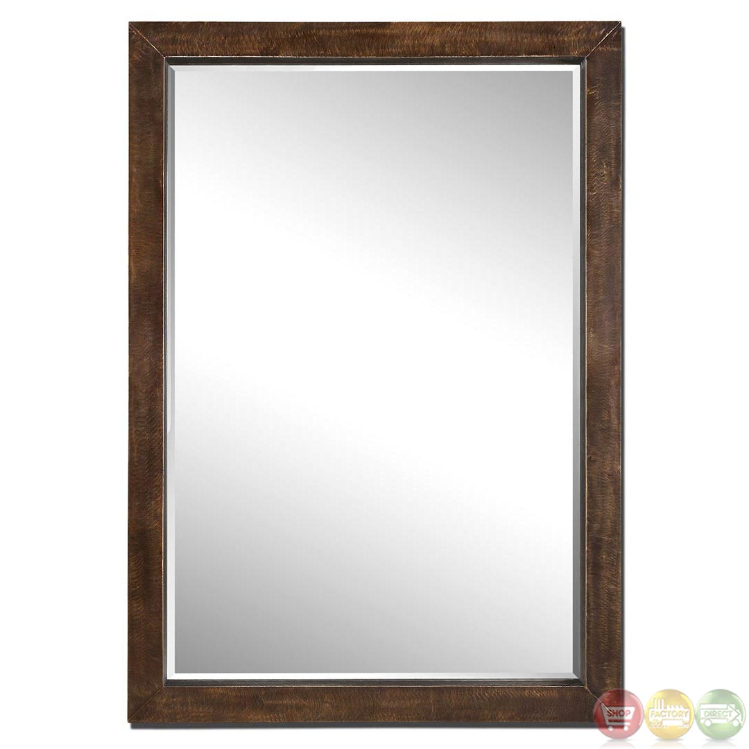 Cesano modern large bronze modern rectangular wood mirrors for Large contemporary mirrors
