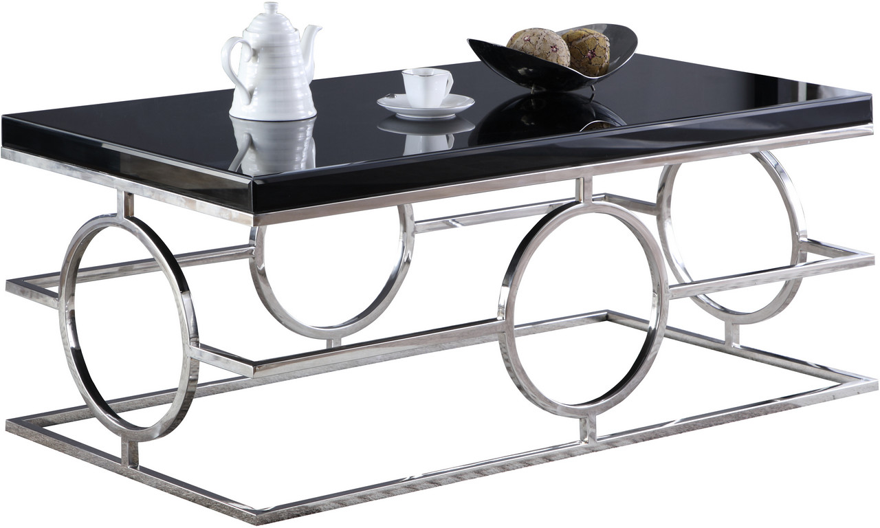 cesario black glass top occasional table set wshaped chrome steel 229set