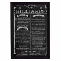 Chalkboard Styled Matte Black  Billiards Game Rules in Wood Picture Frame