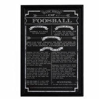 Chalkboard Styled Matte Black Foosball Game Rules in Wood Picture Frame