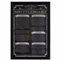 Chalkboard Styled Matte Black Shuffleboard Game Rules In Wood Picture Frame