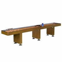 Challenger 14-ft Shuffleboard Table In Walnut Finish With Climate Adjusters