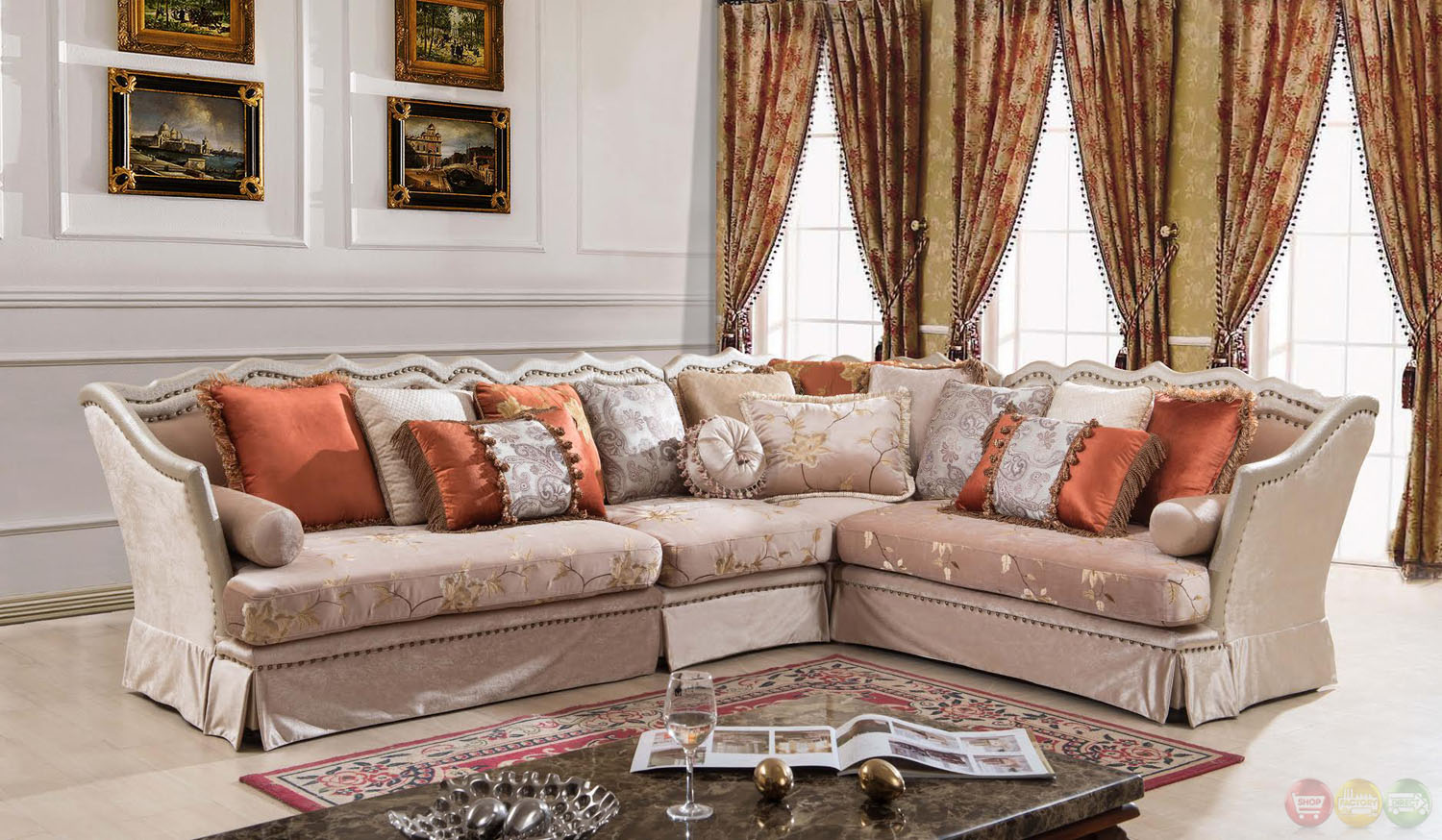 Champagne formal antique style traditional living room for Traditional sectional