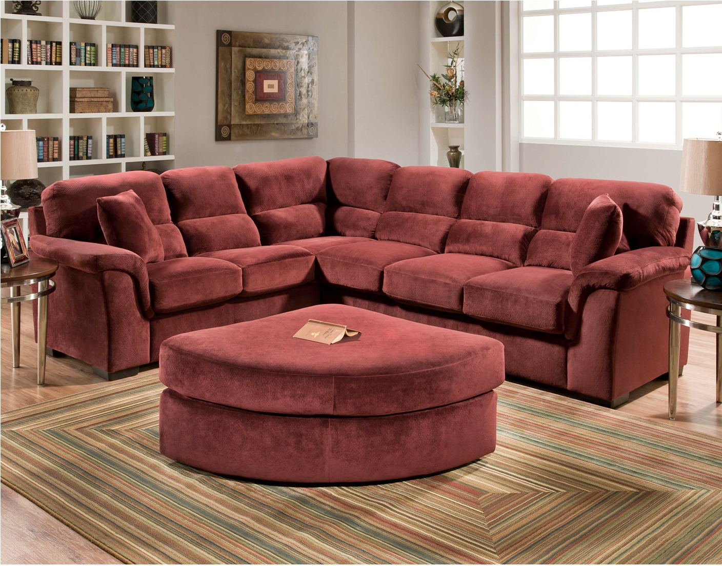 Champion Wine Two Piece Plush Split Back Sectional Sofa