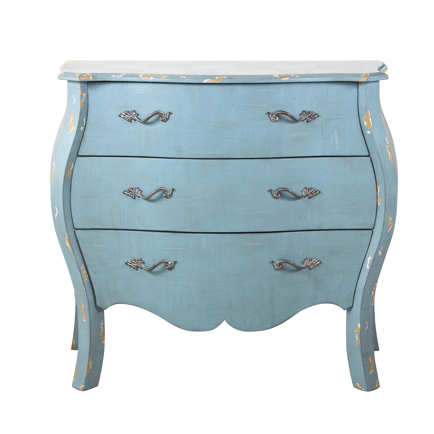 Chapelle French Country Distressed Blue 3 Drawer Bombay