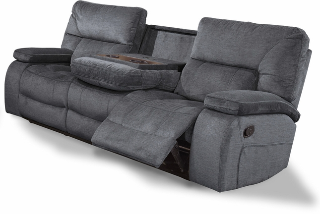 Chapman Polo Contemporary Reclining Sofa with Console and Pillow Top ...