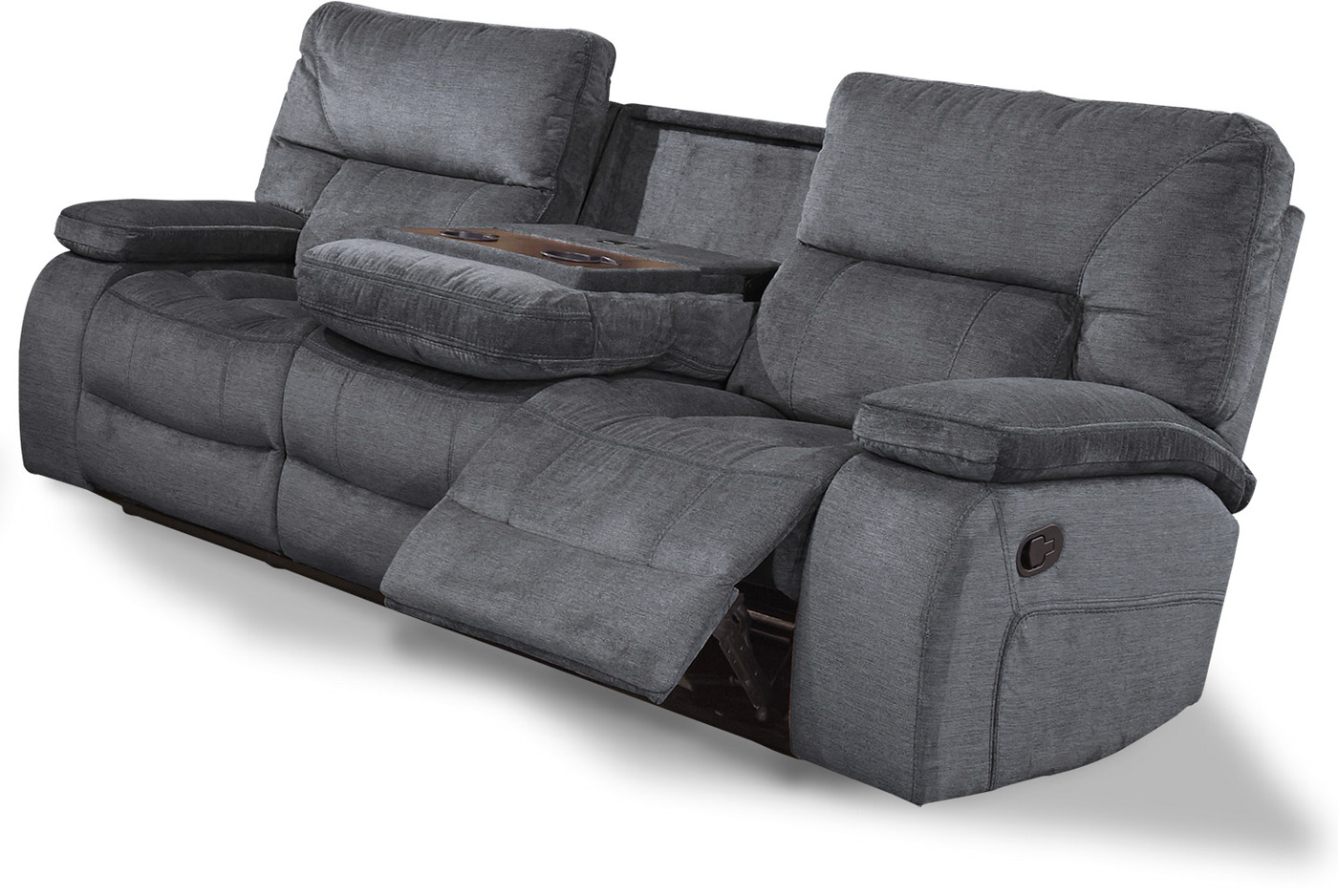 Chapman Polo Contemporary Reclining Sofa With Console And Pillow Top Arms