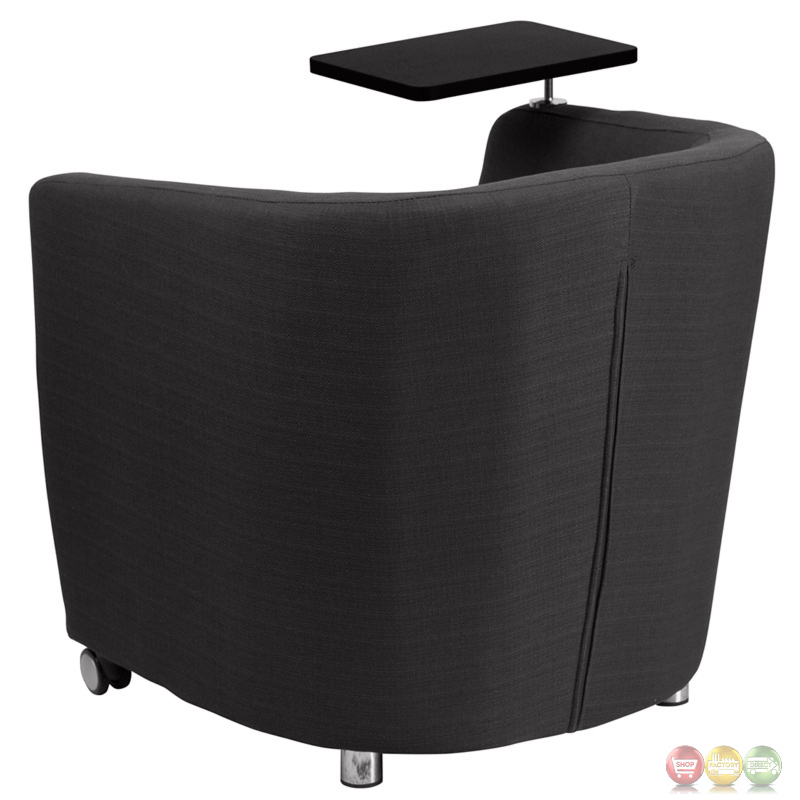 Charcoal Gray Guest Chair W Tablet Arm Front Wheels