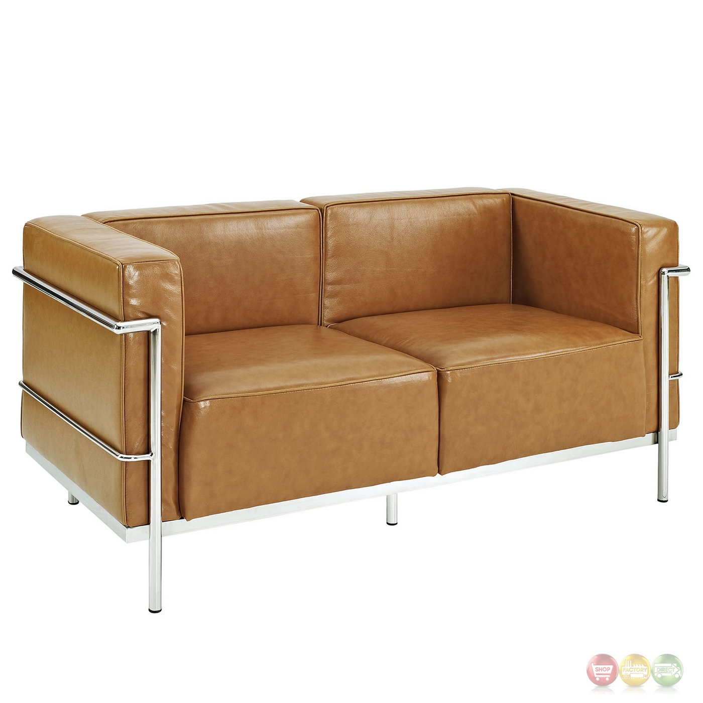 Charles Grande Modern Leather Loveseat With Steel Frame Tan