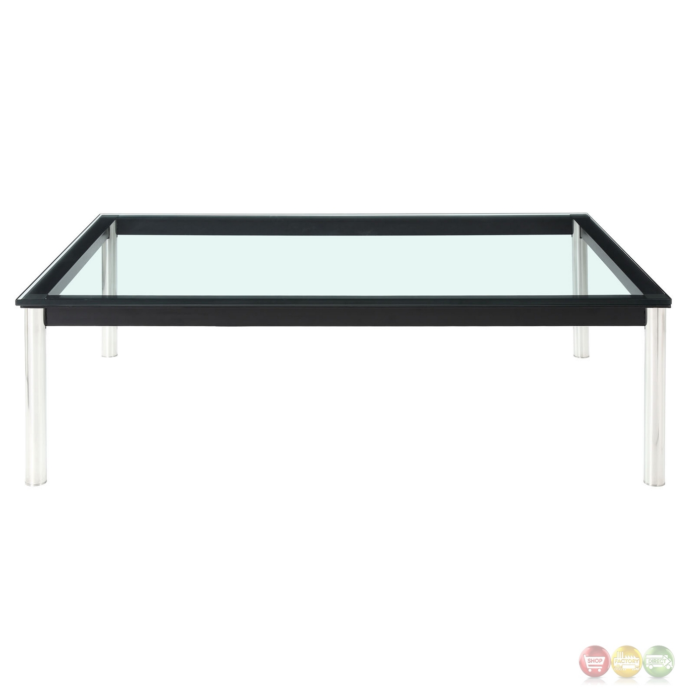 Charles modern 47 rectangle glass top coffee table w for Metal frame glass coffee table