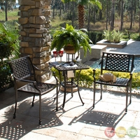 Charleston 3pc Cast aluminum Outdoor Bistro Set with Sunbrella Fabric - 10830323