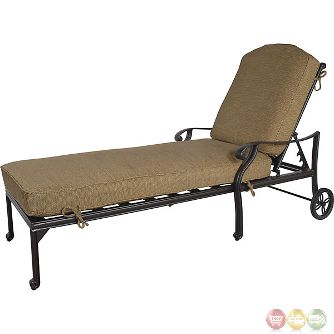 Charleston 3 piece cast aluminum outdoor chaise lounge set for Cast aluminum chaise lounge
