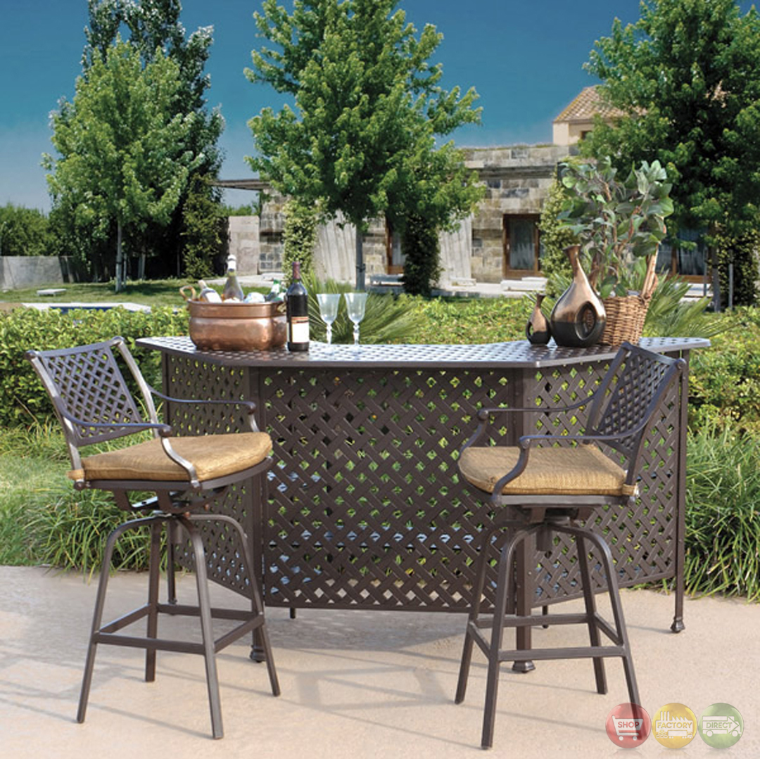 Charleston 3pc cast aluminum outdoor dining bar set 10632280 for Backyard patio set