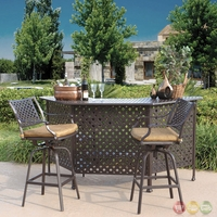 Charleston 3pc Cast aluminum Outdoor Dining Bar Set with Sunbrella Fabric - 10632280