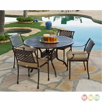Charleston 5 Piece Cast Aluminum Outdoor Dining Set with Sunbrella Fabric