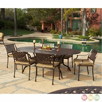 Charleston 7pc Cast aluminum Outdoor Oval Dining Set with Sunbrella Fabric - 10632247
