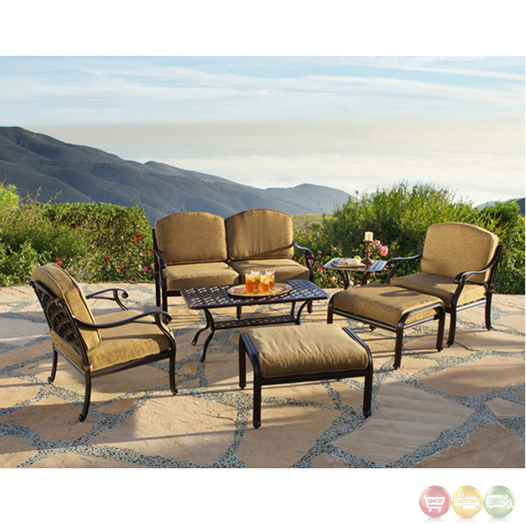 Charleston 7pc cast aluminum outdoor sofa group 10632263 for Outdoor furniture direct