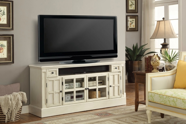 """Charlotte Antique 62"""" TV Console w/ Power Center in Vintage Distressed White"""