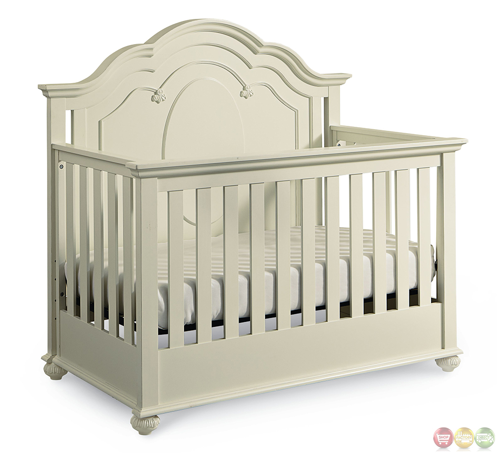 antique white traditional convertible crib 87956