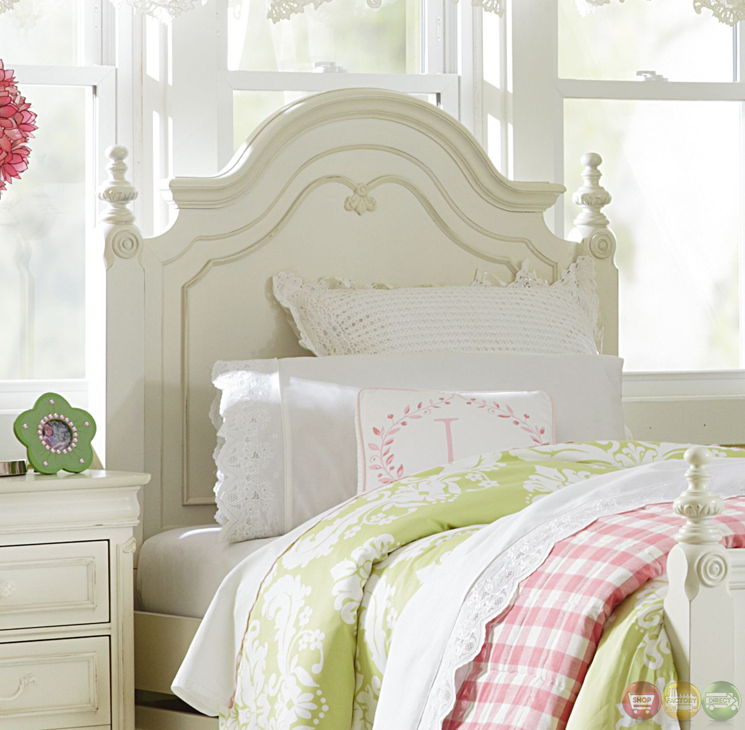 Charlotte Antique White Traditional Low Poster Twin Size Bed