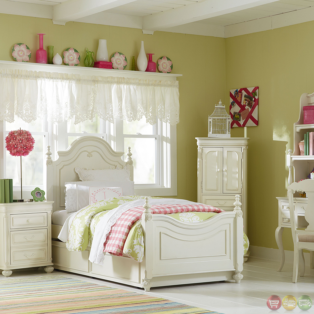 Charlotte Antique White Traditional Low Poster Twin Bed