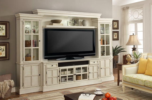 "Charlotte Antiqued 72"" Entertainment Center in Vintage Distressed White"