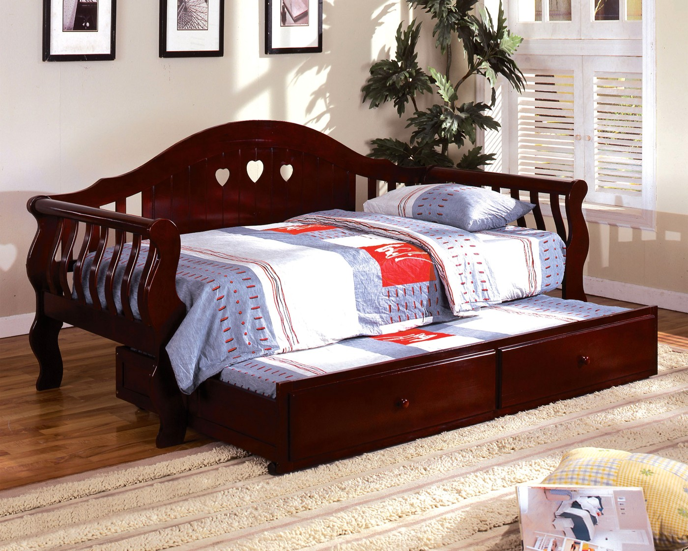 charlotte camel cherry platform daybed with twin trundle 12921 | charlotte camel cherry platform daybed with twin trundle cm1625ch 46