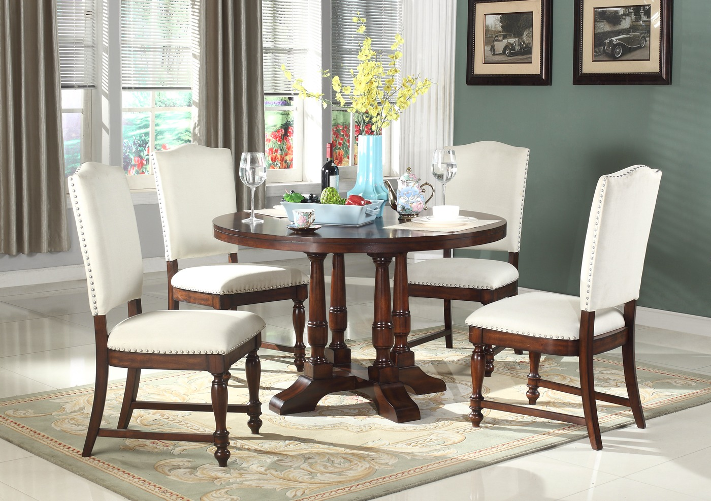 Charlotte Classic 5 Pc 48 Quot Round Wood Dining Set With