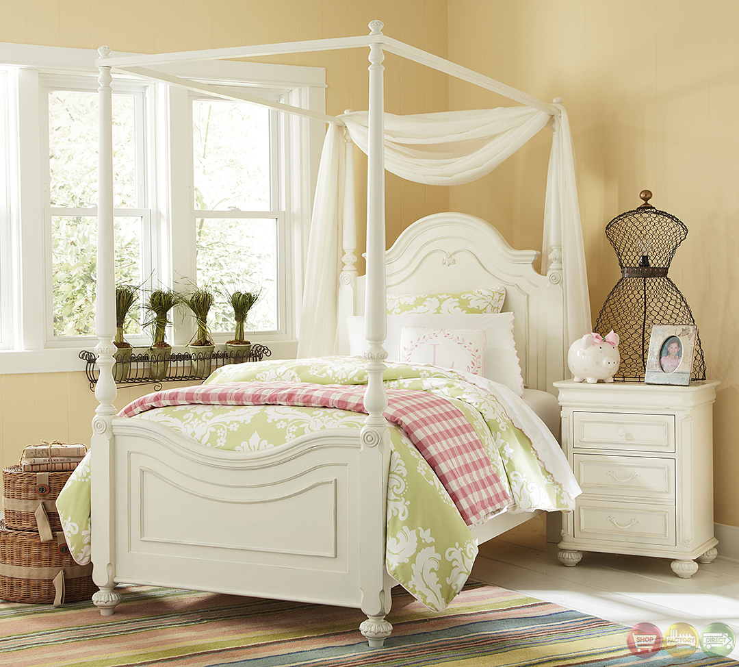 Charlotte traditional antique white poster canopy twin bed - Pictures of canopy beds ...