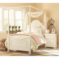 Charlotte Traditional Antique White Poster Canopy Twin Bed Solid Wood