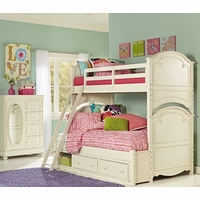 Charlotte Traditional Antique White Twin over Full Size Kid's Bunk Bed