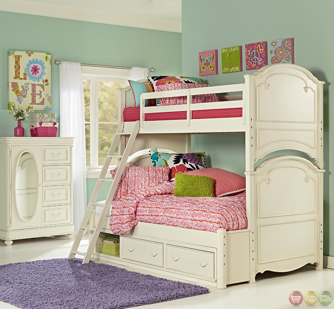 charlotte traditional antique white twin over full size kid 39 s bunk bed. Black Bedroom Furniture Sets. Home Design Ideas