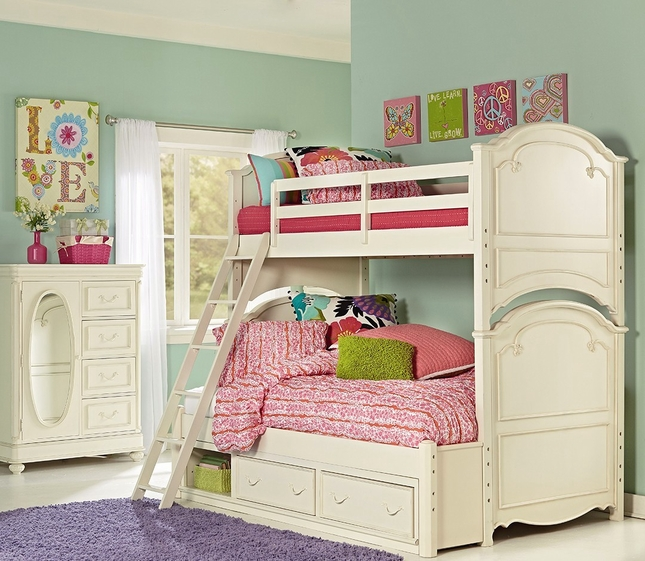 Charlotte Traditional Antique White Twin Over Full Size Kid S Bunk Bed