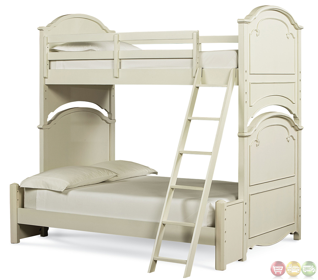 Charlotte traditional twin over full youth bunk bed for Twin over full bunk bed