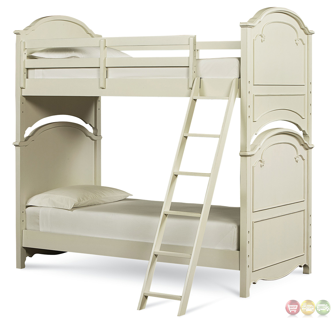 charlotte traditional antique white twin over twin size kid 39 s bunk bed. Black Bedroom Furniture Sets. Home Design Ideas