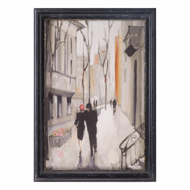 "Charming Village Promenade Art On Black Wood Frame With Glass Window, 29""x41"""