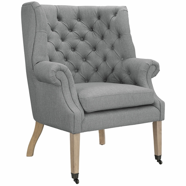 Chart Modern Upholstered Chair w/ Rolled Arms & Front Leg Casters, Light Gray