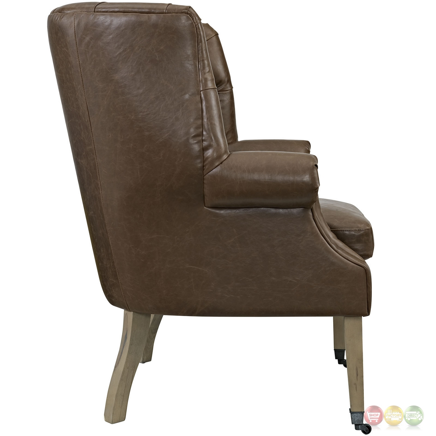Chart Vinyl Upholstered Chair W Rolled Arms Amp Front Leg