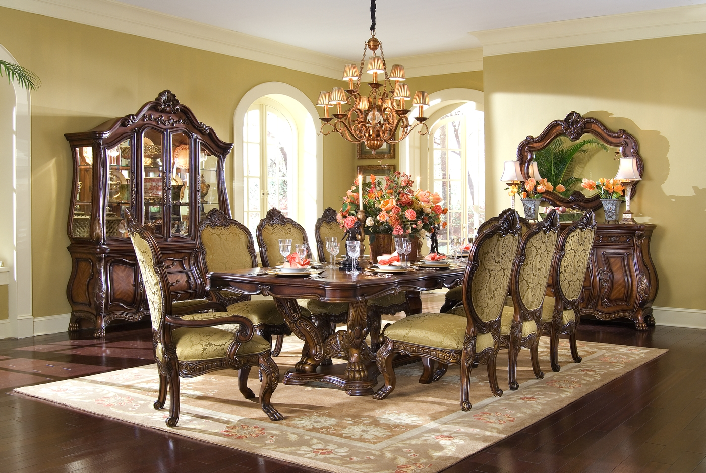 Michael Amini Chateau Beauvais Formal Dining Room Set Noble Bark Finish By AICO