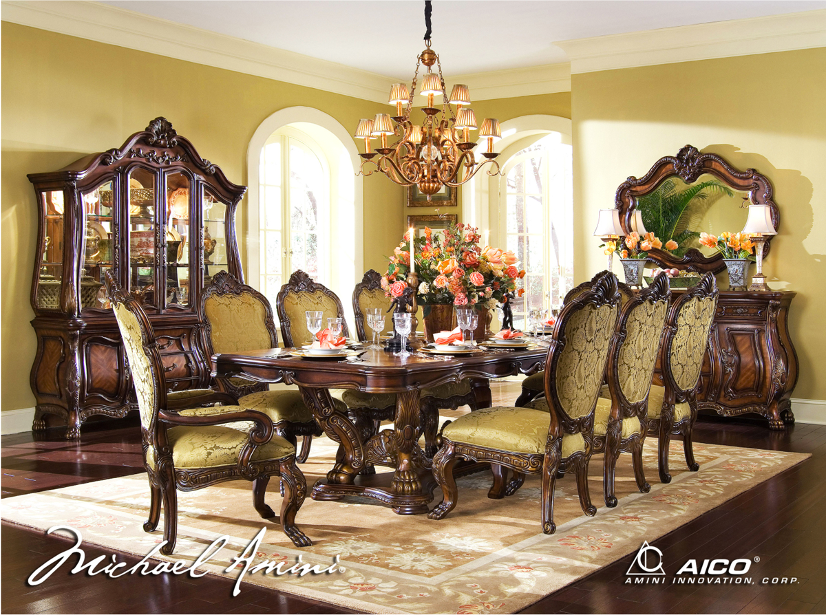 Michael amini chateau beauvais formal dining room set for Fancy dining room sets