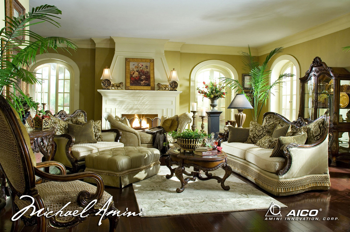Michael amini chateau beauvais luxury traditional formal for Exclusive living room furniture