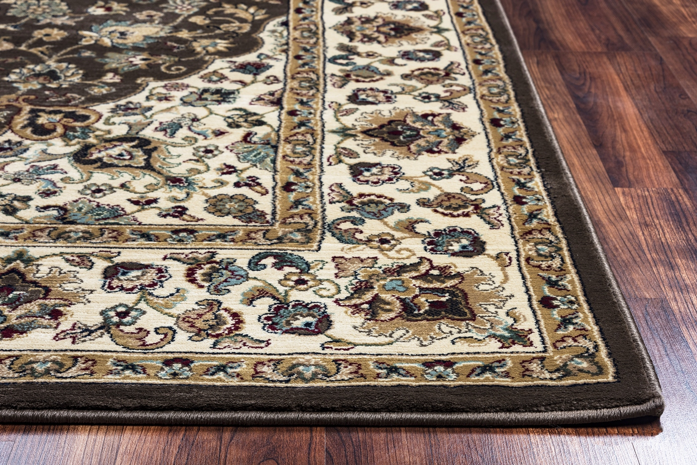chateau classic border area rug in brown ivory 9 39 10 x 12 39 6. Black Bedroom Furniture Sets. Home Design Ideas