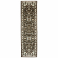 """Chateau Classic Border Runner Rug In Brown & Ivory, 2'3"""" x 7'7"""""""