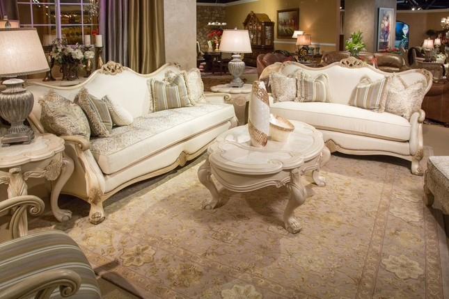 Chateau De Lago Antique Blanc Sofa & Loveseat Set French Regency Inspired