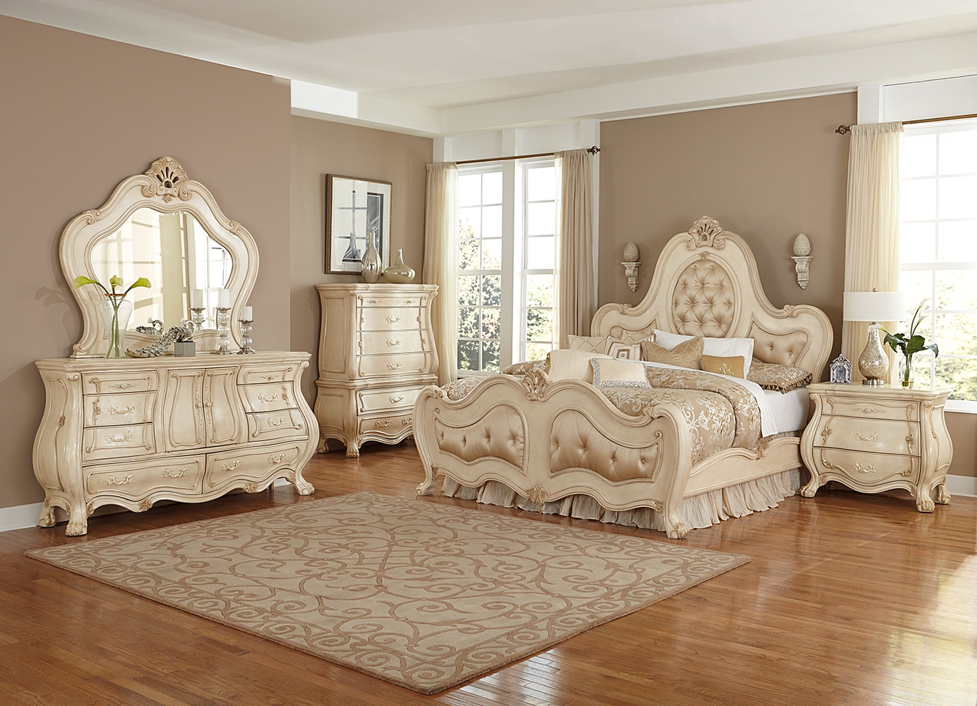 chateau de lago french regency 4-pc upholstered queen bedroom set in blanc