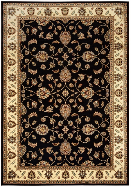 Chateau Traditional Border Area Rug In Black Ivory 33 X 53