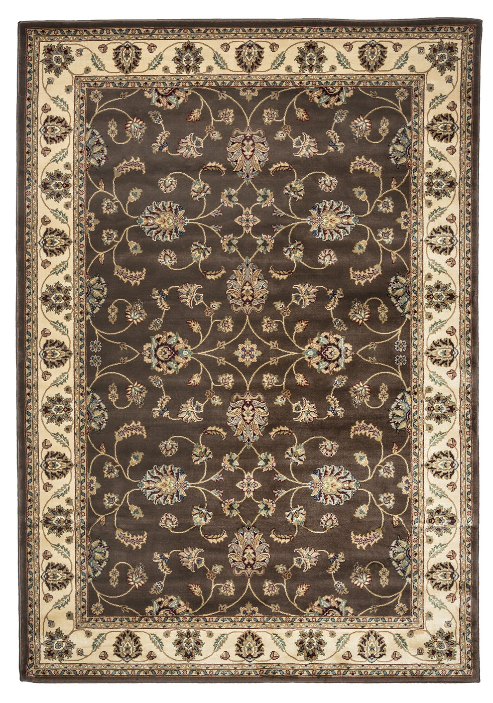 Chateau Traditional Border Area Rug In Brown amp Ivory 33