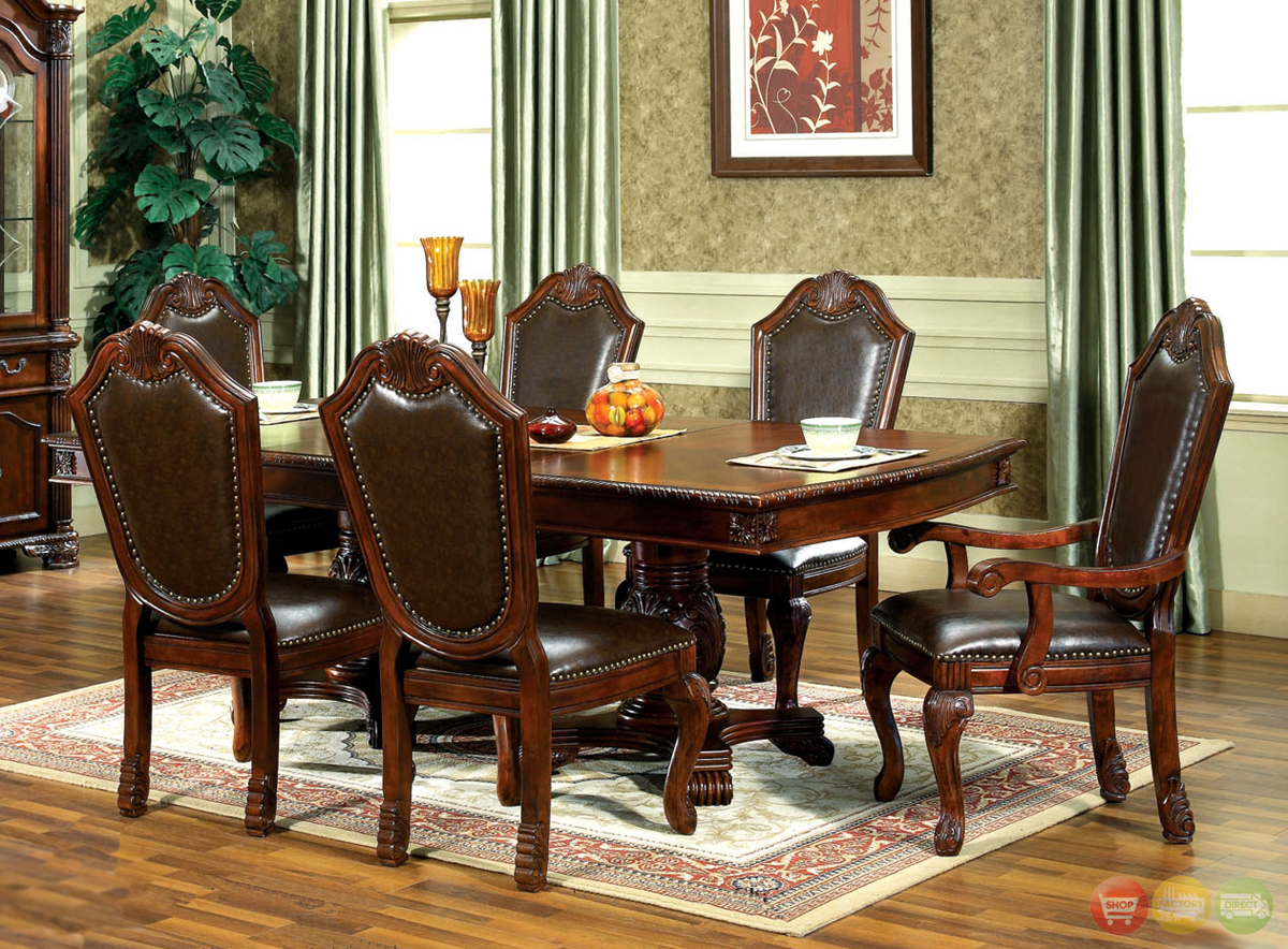 Chateau traditional formal dining room furniture set free for Formal dining chairs
